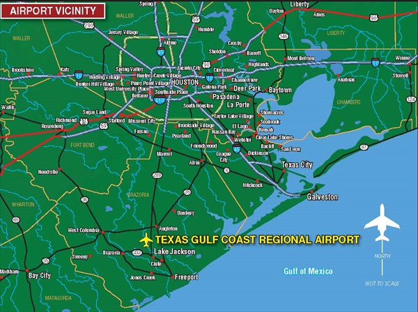 Map Of Texas Gulf Coast Cities.Texas Gulf Coast Regional Airport